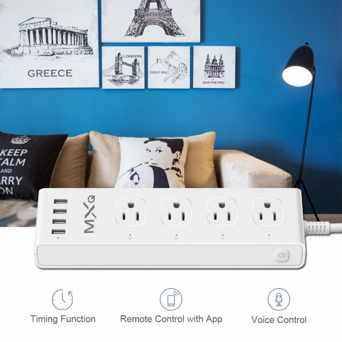 Fast Charging 4 USB Network Controlled Power Strip With Timer / Countdown Functions