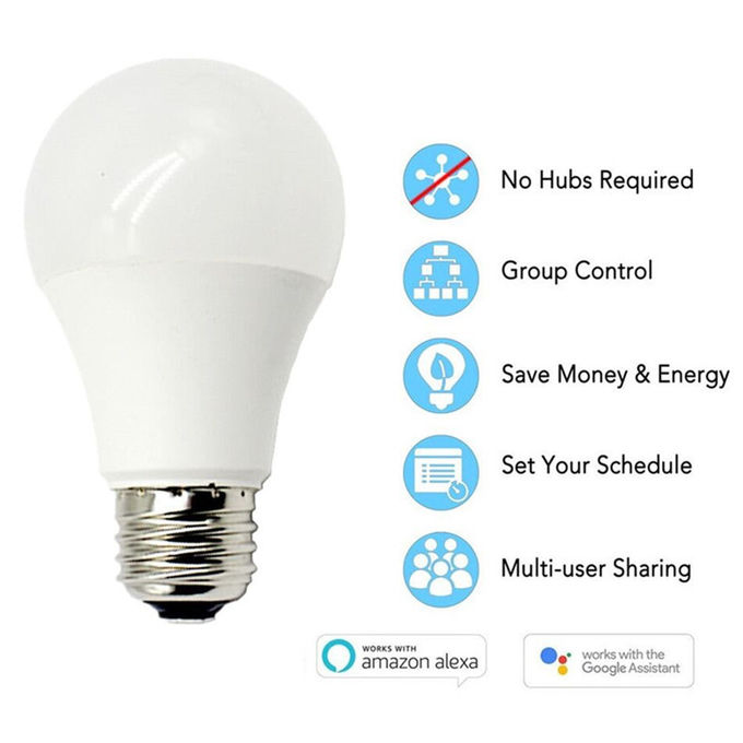 E27 10w Intelligent Wireless Controlled Light Bulbs Aluminum Coated Plastic Material